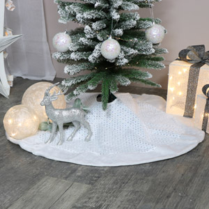 White Fur Sequin Christmas Tree Skirt