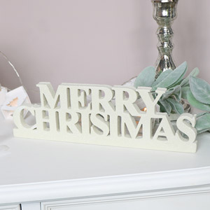 White Glitter Merry Christmas Sign