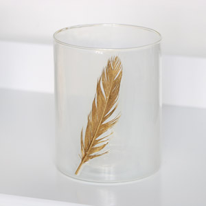 White & Gold Feather Candle Holder