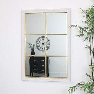 White & Gold Rectangle Window Mirror 78cm x 113cm