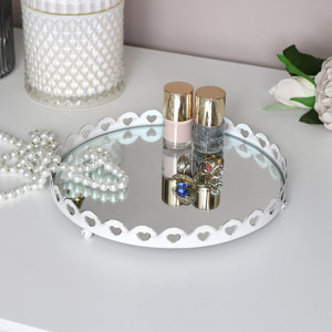 White Heart Detailed Mirrored Tray
