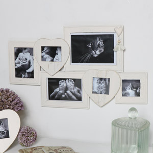 White Heart Multi Photo Frame