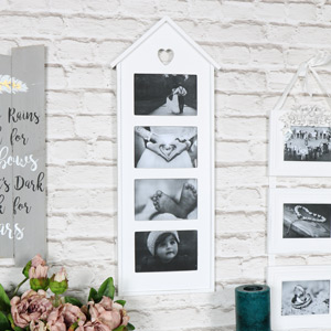 White Heart Multi Photograph Frame
