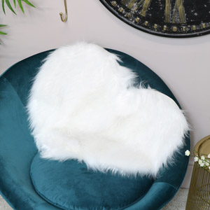White Heart Shaped Faux Fur Throw