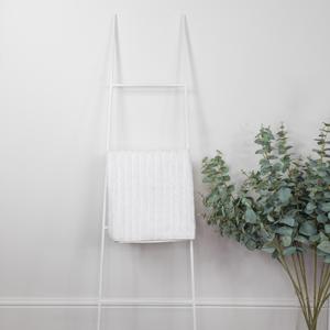 White Metal Towel Ladder Storage