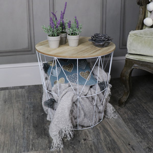 White Metal Wire Basket Wooden Top Side Table