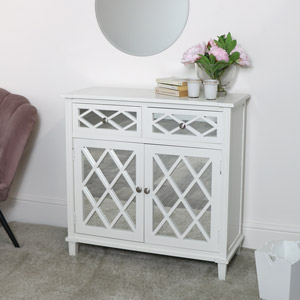 White Mirrored Cupboard Unit  DAMAGED SECOND