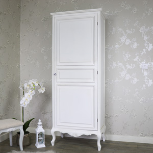 White Ornate French Single Wardrobe - Elise White Range