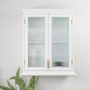 White Reeded Glass Wall Cabinet