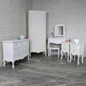 White Bedroom Furniture, Wardrobe, Chest of Drawers, Dressing Table Set, Pair of Bedside Tables - Elise White Range