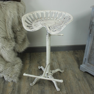 White Metal Tractor Seat Kitchen Bar Stool