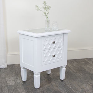 White Two Drawer Bedside Table With Mirrored Top