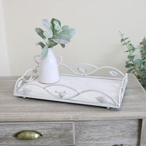 White Vintage Distressed Metal Tray