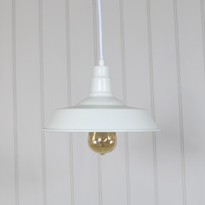 White Vintage Industrial Barn Style Pendant Light Fitting