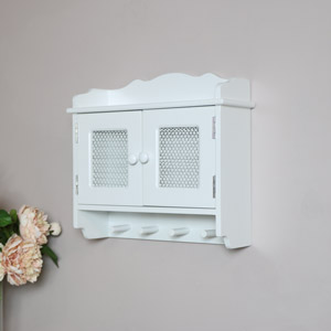 White Wall Cabinet with Hooks - Lila Range SECONDS ITEM