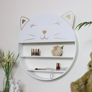 White Wall Mounted Cat Shelving Unit