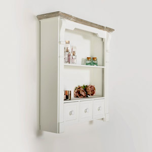 White Wall Shelf Unit with Drawers