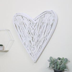 White Wicker Heart Wall Art