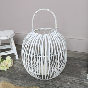 White Wicker Round Candle Lantern