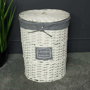 White Willow Wicker Basket Laundry Hamper