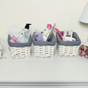 White Willow Wicker Storage Baskets