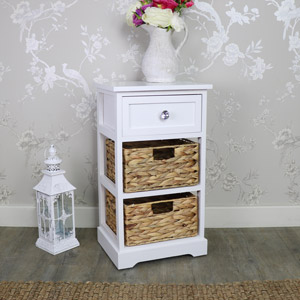 White Wood & Wicker 3 Drawer Basket Storage Unit - Salford Crystal White Range