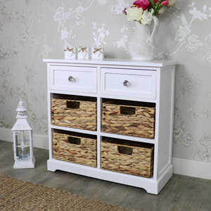 White Wood & Wicker 6 Drawer Basket Storage Unit - Salford Crystal White Range