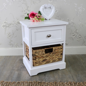 White Wood & Wicker Vintage Style Basket Storage Unit - Salford White Range
