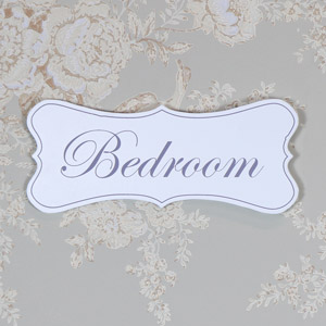 White Wooden 'Bedroom' Hanging Plaque