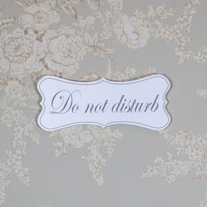 White Wooden 'Do Not Disturb' Hanging Plaque