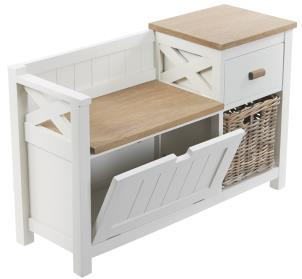 White Wooden Hall Bench with Storage