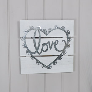 White Wooden Love Wall/Standing Plaque