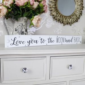 White Wooden Love You to the Moon Wall Plaque
