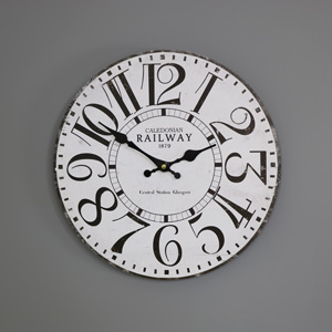 White Wooden 'Railway' Wall Clock
