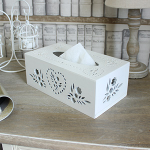 White Wooden Tissue Box