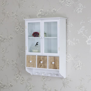 White Wooden Wall Cabinet with 3 Drawers and Hooks