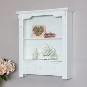 White Wooden Wall Shelves with Drawer Storage