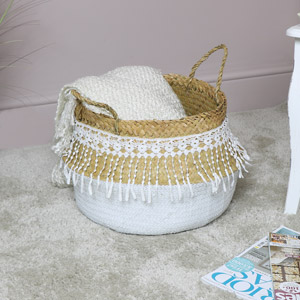 White Woven Lacy Storage Basket