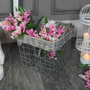 Wicker & Metal Storage Basket