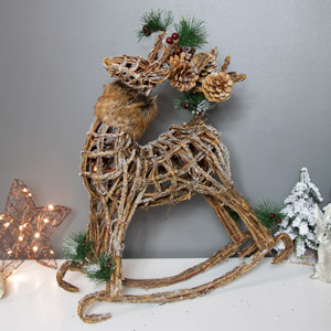 Wicker Rocking Reindeer Christmas Ornament