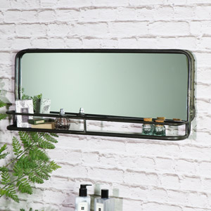 Wide Rustic Grey Mirror with Shelf