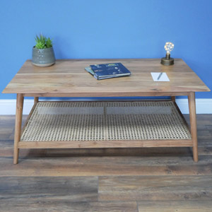 Wood & Cane Coffee Table