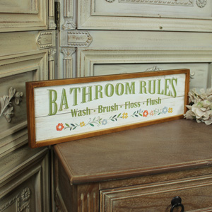 Wooden Bathroom Rules Wall Sign