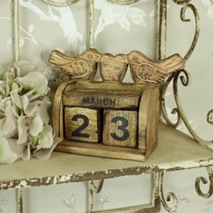 Wooden Bird Block Calendar