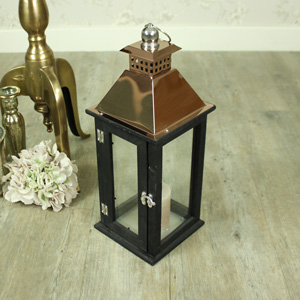 Wooden Black Copper Topped Candle Lantern