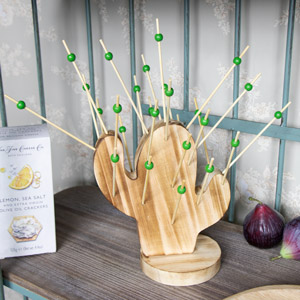 Wooden Cactus Hors d'oeuvre Holder