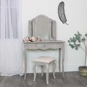 Wooden Dressing Table, Mirror & Stool - Temperley Range- SECOND