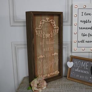 """Wooden Framed LED Light Up Plaque """"Do More....."""""""