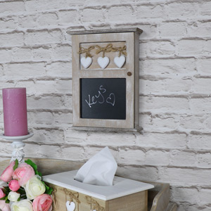 Wooden 'Heart' Key Cupboard With Blackboard