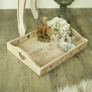 Wooden Heart Serving Tray with Handles